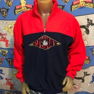 Vintage Mickey Mouse Disney Embroidered Fleece L